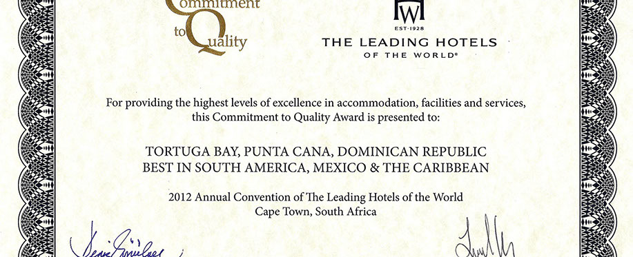 Tortuga Bay wins The Leading Hotels of the World Commitment To Quality Award