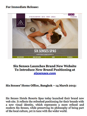 Six Senses Spa launches new website to introduce new brand positioning